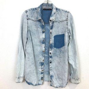 zara trafaluc chambray shirt bleached button front